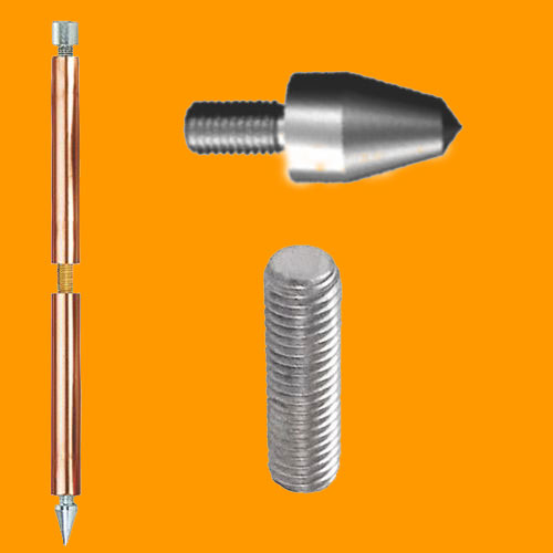 Solid Copper Earth Rod (Internally threaded), Driving Spike & Internal Coupling Dowel